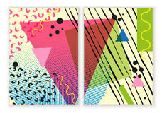 Colorful trendy Neo Memphis geometric poster. Modern abstract design poster, cover, card design. Stock Photos
