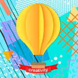 Colorful trendy Neo Memphis geometric poster with paper 3D craft air balloon. Retro style texture, pattern and geometric elements. Modern abstract design Stock Photos