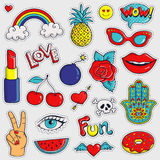 Colorful and trendy patches. Vector stickers. Royalty Free Stock Photo