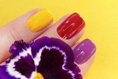 Colorful trendy summer manicure royalty free stock photography