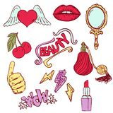 Fashion romantic trendy modern icon set vector pattern with lips, cherry, stars, hearts, hands, lipstick, perfume, mirror and royalty free illustration