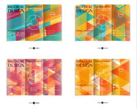 Colorful tri-fold leaflet design template set. Colorful tri-fold brochure design template set with modern geometric mosaic background. Abstract three fold flyer Royalty Free Stock Photo