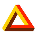 Colorful triangle. In red, brown and yellow, creating an optical 3d illusion Stock Photography