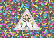 Colorful triangle background with trees Stock Photography