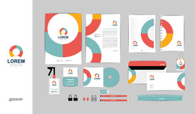 Colorful with triangle corporate identity template for your business B Stock Image
