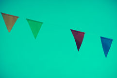 Colorful of triangle flag on dark green  background. vintage ton Royalty Free Stock Photos
