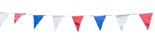 Colorful triangle flags on rope Stock Image