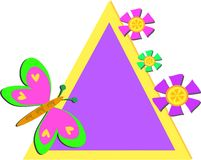 Colorful Triangle Frame with Butterfly and Flowers Royalty Free Stock Photos
