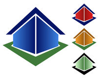 Colorful Triangle Houses. Choose from 4 different triangle house icons types. (Blue, red, orange and green Stock Images