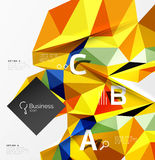 Colorful triangle mosaic 3d geometric object with infographics Stock Image