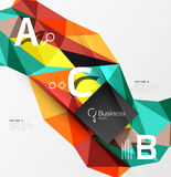 Colorful triangle mosaic 3d geometric object with infographics Royalty Free Stock Photo