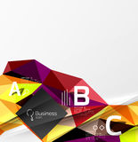 Colorful triangle mosaic 3d geometric object with infographics Stock Photos