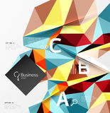 Colorful triangle mosaic 3d geometric object with infographics Royalty Free Stock Photos