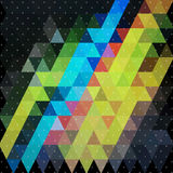 Colorful triangle in night sky with plus star line background Stock Photography