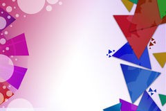 Colorful triangle overlap and arc with bubbles, abstract background Royalty Free Stock Image
