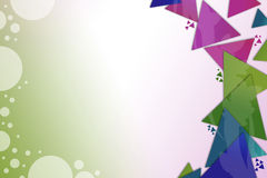 Colorful triangle overlap with bubbles left side, abstract background Royalty Free Stock Photo