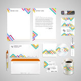 Colorful triangle pattern background corporate identity set Stock Images