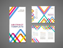 Colorful triangle pattern background tri fold brochure vector illustration