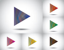 Colorful triangle play icon collection set white background Royalty Free Stock Images