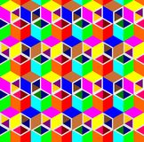 Abstract 3d cube pipe pattern background. Colorful triangle and rhombus pattern background, 3d isometric illustration pattern background Royalty Free Stock Photos