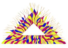 Colorful triangle with tentacle like structures Stock Image