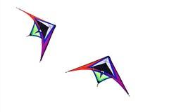 Colorful triangle textile kites Stock Photos