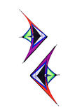 Colorful triangle textile kites Stock Image