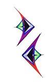 Colorful triangle textile kites. Isolated on white Stock Image