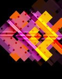Colorful triangles and arrows on dark background royalty free illustration