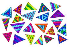Colorful triangles. A gel pen hand drawing of different colorful triangles on a white background Stock Photo