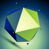 Colorful triangular abstract 3D illustration, vector digital lat. Tice complicated object placed over shaded background Stock Photos