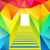 Colorful triangular design with staircase gate Stock Images