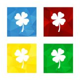Low polygonal triagonal button with flat white icon for shamrock. Colorful triangular low poly button in square shape with flat icon representing shamrock four Stock Photo