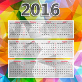 Colorful Triangular Polygonal 2016 year calendar. Abstract Colorful Triangular Polygonal 2016 year calendar Royalty Free Stock Photos