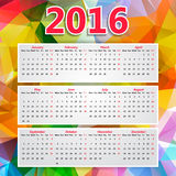 Colorful Triangular Polygonal 2016 year calendar Royalty Free Stock Photo