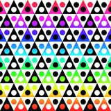 Colorful triangular shapes seamless texture. Seamless abstract rainbow spectrum colors triangular shapes and balls. Abstract geometric texture pattern Stock Photos