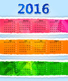 Colorful Triangular torn paper 2016 year calendar. Abstract Colorful Triangular torn paper 2016 year calendar Stock Images
