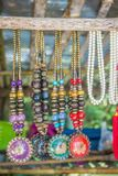 Colorful tribal beads and necklaces souvenir for sale on street at the local market, Chiang Rai, Thailand.  stock image