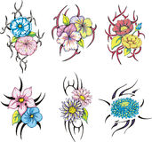 Colorful tribal flower tattoos Stock Photography