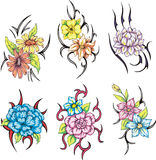 Colorful tribal flower tattoos Stock Photos