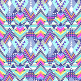 Colorful tribal geo shapes - seamless background. Abstract geometric shapes in cool fashion design Stock Illustration