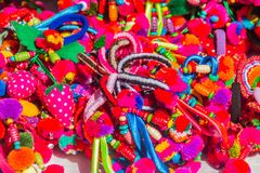 Colorful tribal handmade bracelet for sale to the tourist as the souvenir at the local market in Chiang Rai, the northern part of. Thailand royalty free stock photo