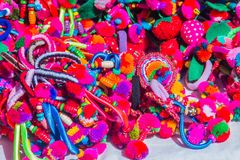 Colorful tribal handmade bracelet for sale to the tourist as the souvenir at the local market in Chiang Rai, the northern part of. Thailand stock images