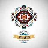 Colorful tribal Navajo style  ornamental geometric logo set Stock Photography