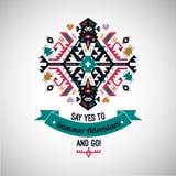 Colorful tribal Navajo style vector ornamental geometric logo set Stock Image