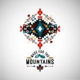 Colorful tribal Navajo style vector ornamental geometric logo set Stock Photo