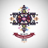 Colorful tribal Navajo style vector ornamental geometric logo set Stock Images