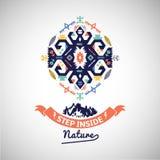 Colorful tribal Navajo style vector ornamental geometric logo set Royalty Free Stock Images