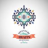Colorful tribal Navajo style vector ornamental geometric logo set Royalty Free Stock Image