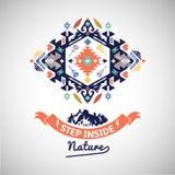 Colorful tribal Navajo style vector ornamental geometric logo set Royalty Free Stock Photography
